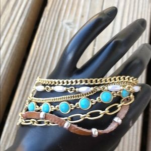 Lucky Brand Turquoise Multi Chain Mixed Media Cuff